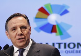 Coalition Avenir Quebec co-founder Francois Legault speaks during a news conference at the Palais Montcalm in Quebec City