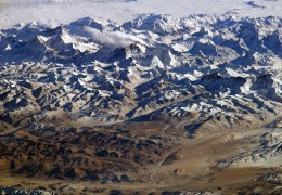 Himalayas, looking south from over the Tibetan Plateau